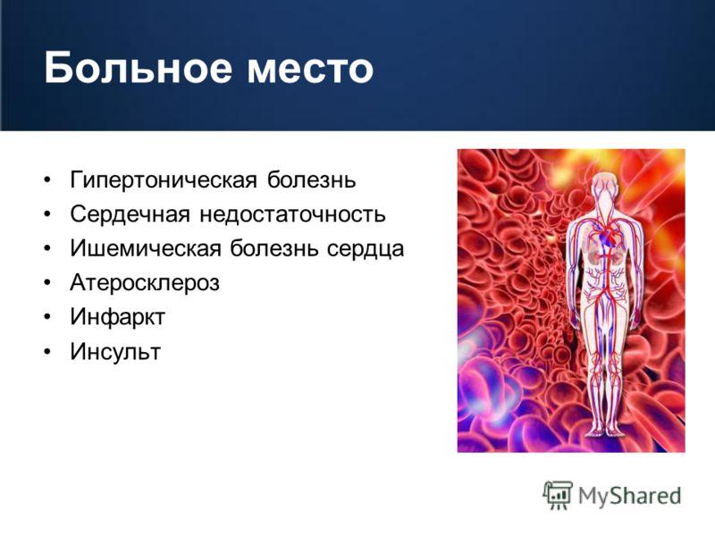Больное место Гипертоническая болезнь Сердечная недостаточность Ишемическая болезнь сердца Атеросклероз Инфаркт Инсульт
