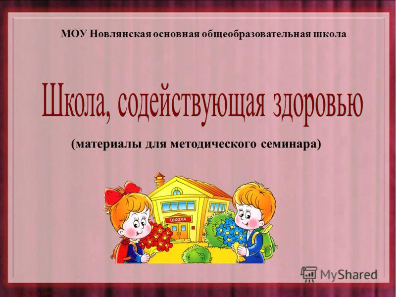 (материалы для методического семинара) МОУ Новлянская основная общеобразовательная школа