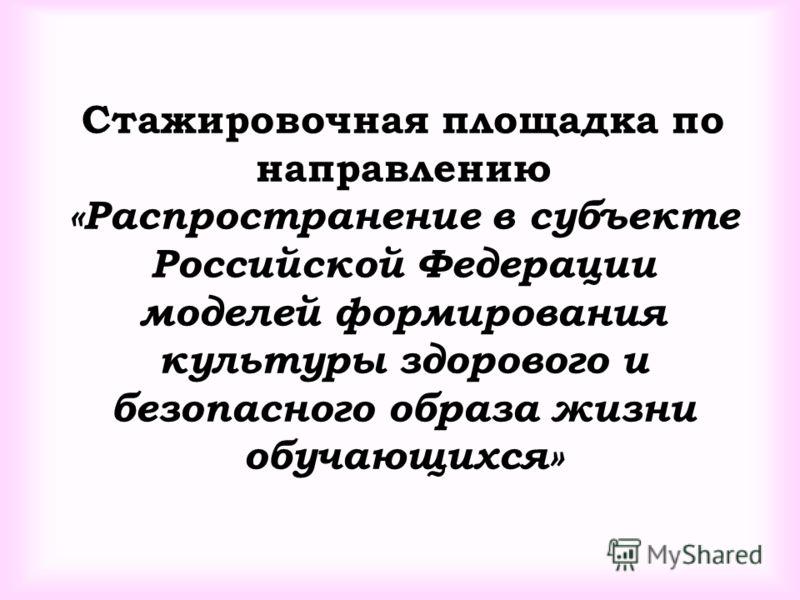 Стажировочная площадка по направлению «Распространение в субъекте Российской Федерации моделей формирования культуры здорового и безопасного образа жизни обучающихся»