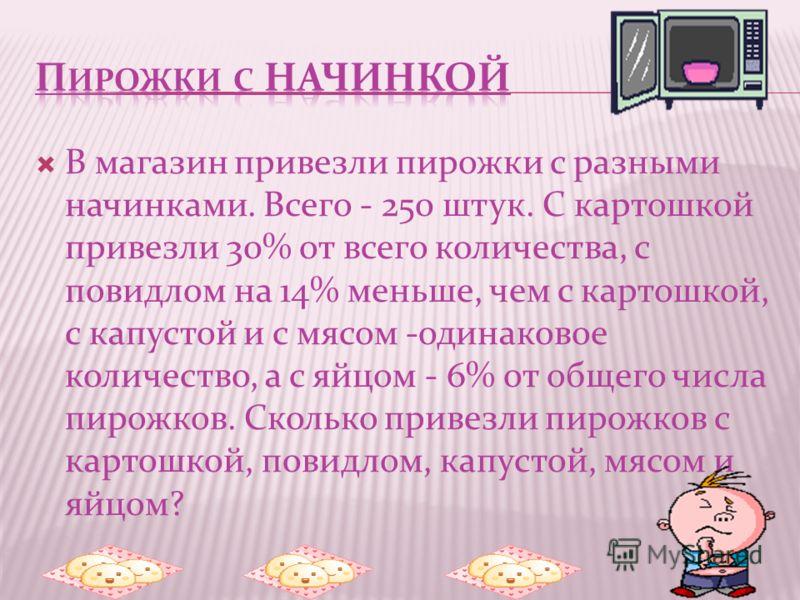В магазин привезли пирожки с разными начинками. Всего - 250 штук. С картошкой привезли 30% от всего количества, с повидлом на 14% меньше, чем с картошкой, с капустой и с мясом -одинаковое количество, а с яйцом - 6% от общего числа пирожков. Сколько п