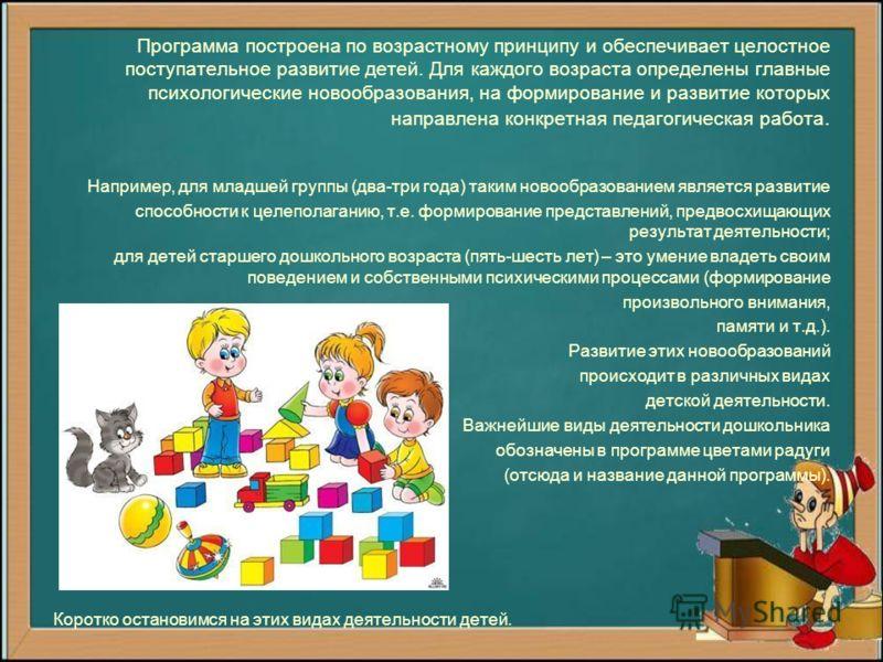 Это первая инновационная программа дошкольного образования, получившая рекомендацию Министерства образования. Разработана сотрудниками лаборатории дошкольного воспитания Института общего образования под руководством Т.Н. Дороновой. Рассчитана на рабо
