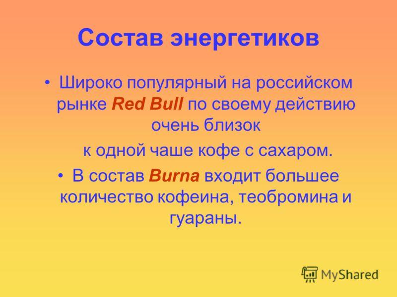 Состав энергетиков Широко популярный на российском рынке Red Bull по своему действию очень близок к одной чаше кофе с сахаром. В состав Burnа входит большее количество кофеина, теобромина и гуараны.