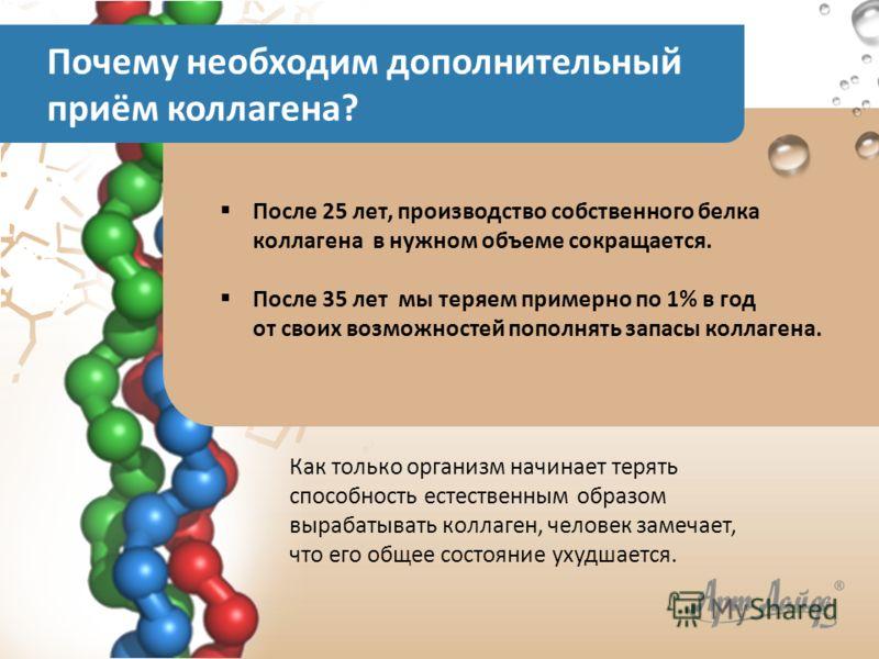 Как только организм начинает терять способность естественным образом вырабатывать коллаген, человек замечает, что его общее состояние ухудшается. После 25 лет, производство собственного белка коллагена в нужном объеме сокращается. После 35 лет мы тер