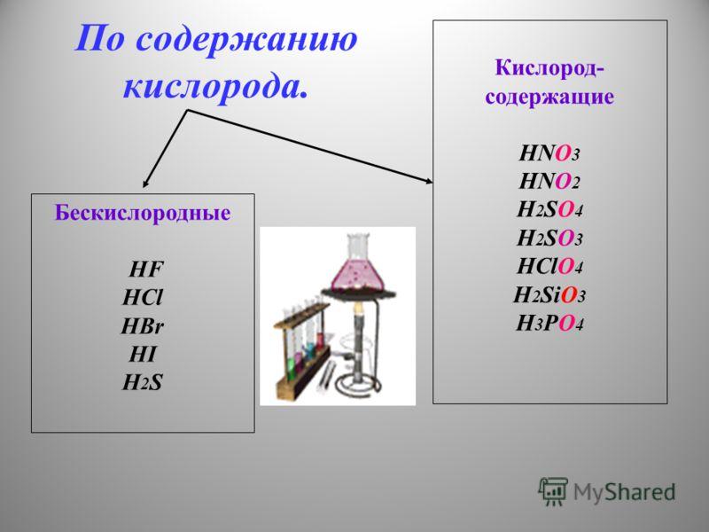 По содержанию кислорода. Бескислородные HF HCl HBr HI H 2 S Кислород- содержащие HNO 3 HNO 2 H 2 SO 4 H 2 SO 3 HClO 4 H 2 SiO 3 H 3 PO 4
