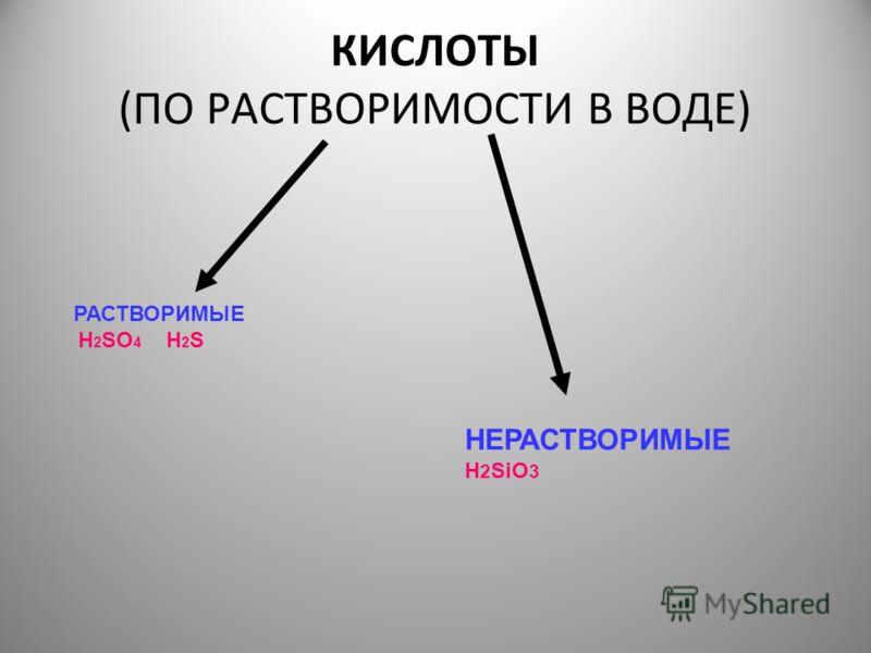 КИСЛОТЫ (ПО РАСТВОРИМОСТИ В ВОДЕ) РАСТВОРИМЫЕ H 2 SO 4 H 2 S НЕРАСТВОРИМЫЕ H 2 SiO 3