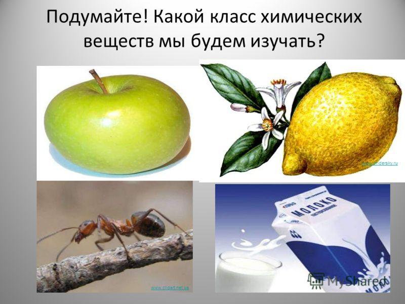 Подумайте! Какой класс химических веществ мы будем изучать? images.yandex.ru www.clipart.net.ua www.undersky.ru