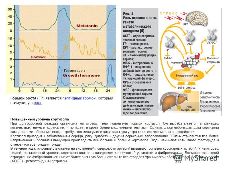 Повышенный уровень кортизола При долгосрочной реакции организма на стресс, тело использует гормон кортизол. Он вырабатывается в меньших количествах, нежели адреналин, и попадает в кровь более медленными темпами. Однако, даже небольшая доза кортизола