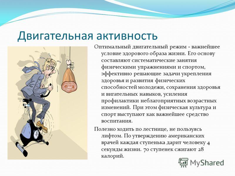 Двигательная активность Оптимальный двигательный режим - важнейшее условие здорового образа жизни. Его основу составляют систематические занятия физич