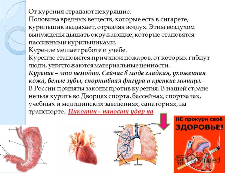 От курения страдают некурящие. Половина вредных веществ, которые есть в сигарете, курильщик выдыхает, отравляя воздух. Этим воздухом вынуждены дышать окружающие, которые становятся пассивными курильщиками. Курение мешает работе и учебе. Курение стано
