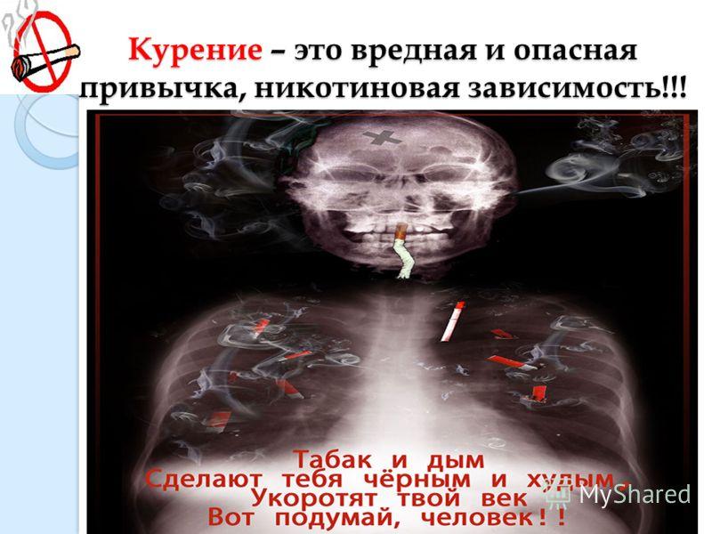 Курение – это вредная и опасная привычка, никотиновая зависимость!!!
