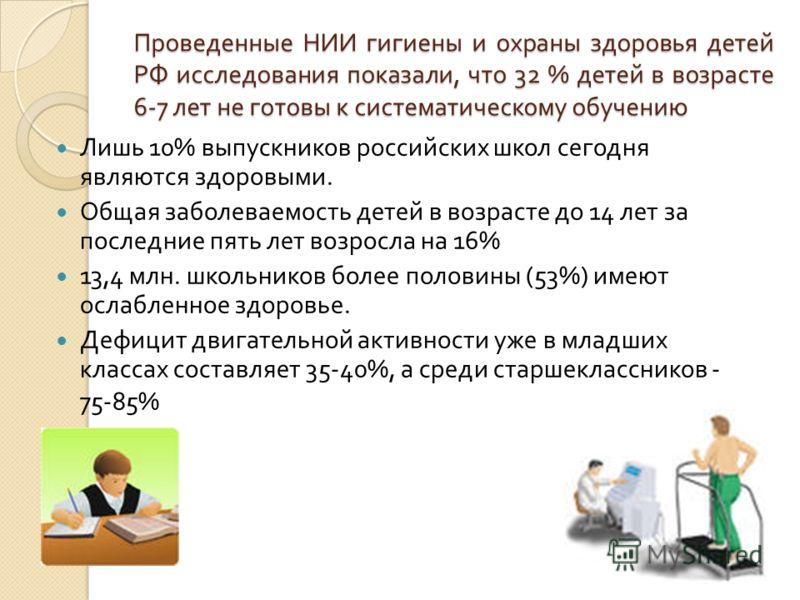 Проведенные НИИ гигиены и охраны здоровья детей РФ исследования показали, что 32 % детей в возрасте 6-7 лет не готовы к систематическому обучению Лишь 10% выпускников российских школ сегодня являются здоровыми. Общая заболеваемость детей в возрасте д