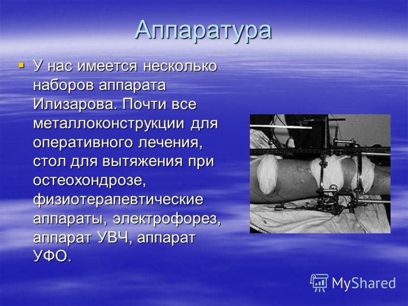 Аппаратура У нас имеется несколько наборов аппарата Илизарова. Почти все металлоконструкции для оперативного лечения, стол для вытяжения при остеохондрозе, физиотерапевтические аппараты, электрофорез, аппарат УВЧ, аппарат УФО. У нас имеется несколько