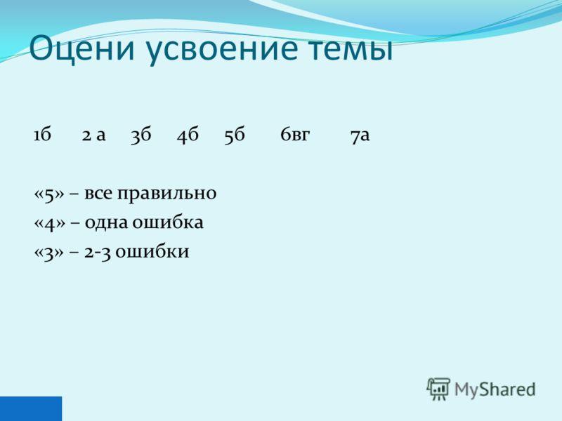 Оцени усвоение темы 1б 2 а 3б 4б 5б 6вг 7а «5» – все правильно «4» – одна ошибка «3» – 2-3 ошибки