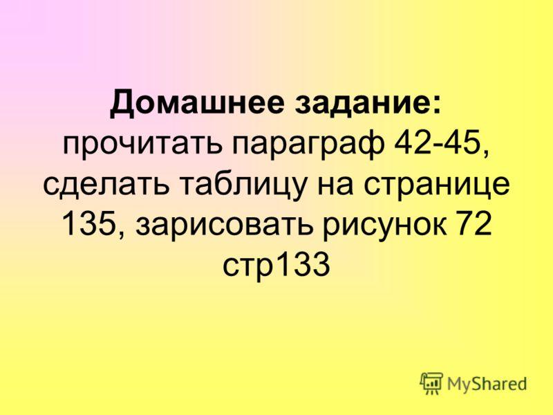 Домашнее задание: прочитать параграф 42-45, сделать таблицу на странице 135, зарисовать рисунок 72 стр133