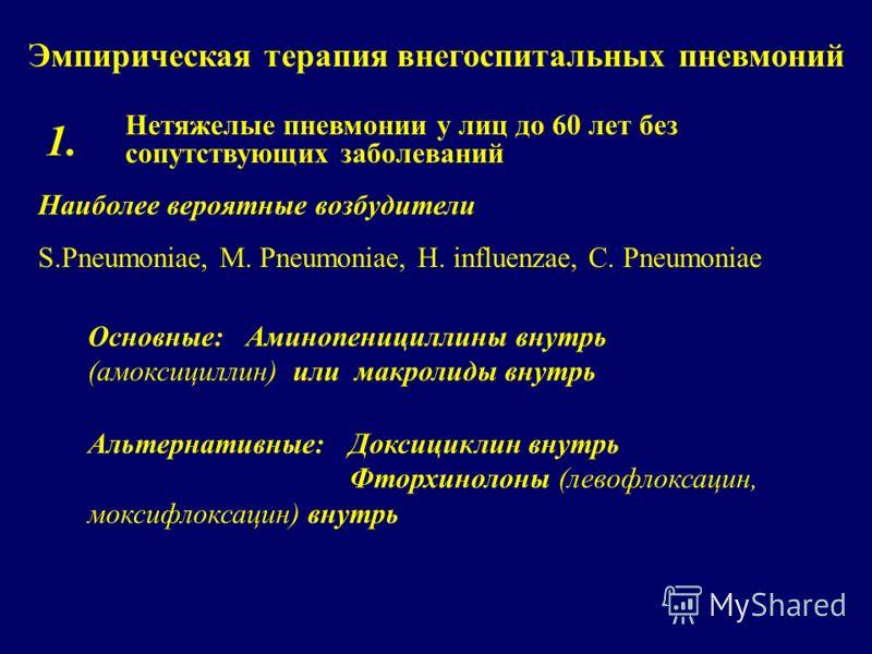 Эмпирическая терапия внегоспитальных пневмоний Нетяжелые пневмонии у лиц до 60 лет без сопутствующих заболеваний 1. Наиболее вероятные возбудители S.Pneumoniae, M. Pneumoniae, H. influenzae, C. Pneumoniae Основные: Аминопенициллины внутрь (амоксицилл
