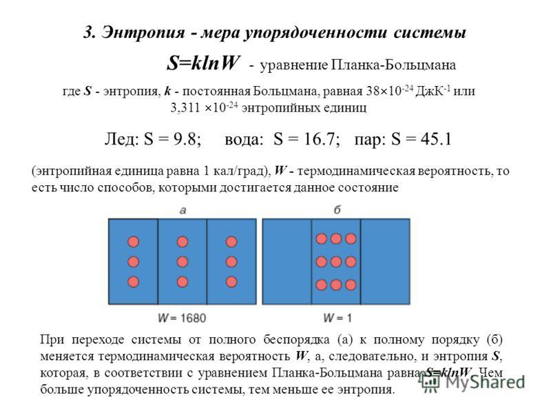 3. Энтропия - мера упорядоченности системы S=klnW - уравнение Планка-Больцмана где S - энтропия, k - постоянная Больцмана, равная 38 10 -24 ДжК -1 или 3,311 10 -24 энтропийных единиц (энтропийная единица равна 1 кал/град), W - термодинамическая вероя