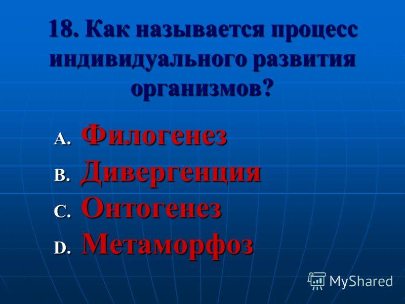 18. Как называется процесс индивидуального развития организмов? A. Филогенез B. Дивергенция C. Онтогенез D. Метаморфоз