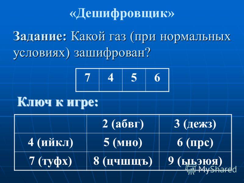 7456 «Дешифровщик» Задание: Какой газ (при нормальных условиях) зашифрован? Ключ к игре: 2 (абвг)3 (дежз) 4 (ийкл)5 (мно)6 (прс) 7 (туфх)8 (цчшщъ)9 (ыьэюя)