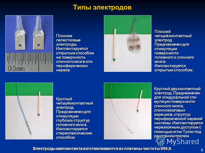 8 Электроды имплантанта изготавливаются из платины чистоты 999,9. Плоские лепестковые электроды. Имплантируется открытым способом на поверхность спинного мозга или периферических нервов. Круглый четырёхконтактный электрод. Предназначен для стимуляции