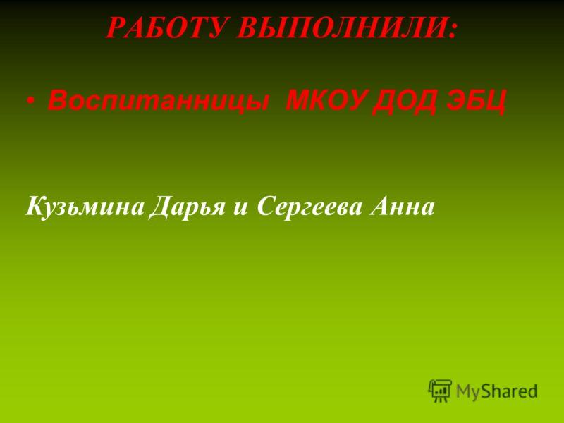 РАБОТУ ВЫПОЛНИЛИ: Воспитанницы МКОУ ДОД ЭБЦ Кузьмина Дарья и Сергеева Анна