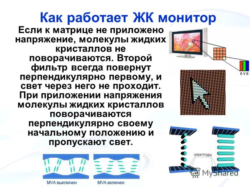Как работает ЖК монитор Если к матрице не приложено напряжение, молекулы жидких кристаллов не поворачиваются. Второй фильтр всегда повернут перпендикулярно первому, и свет через него не проходит. При приложении напряжения молекулы жидких кристаллов п