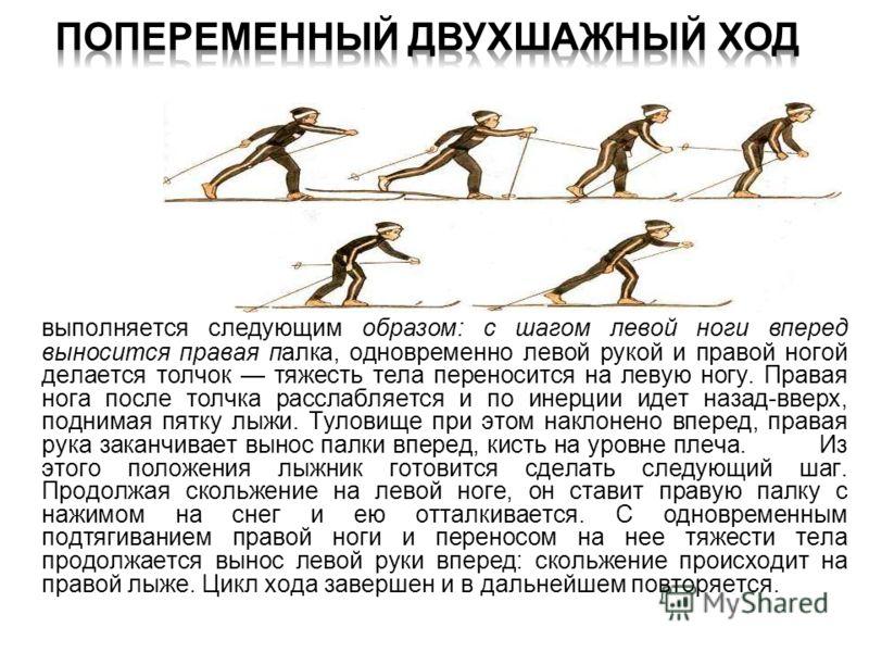 выполняется следующим образом: с шагом левой ноги вперед выносится правая палка, одновременно левой рукой и правой ногой делается толчок тяжесть тела переносится на левую ногу. Правая нога после толчка расслабляется и по инерции идет назад-вверх, под
