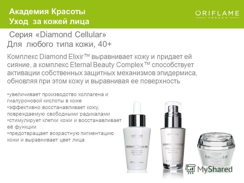 Для любого типа кожи, 40+ Серия «Diamond Cellular» Комплекс Diamond Elixir выравнивает кожу и придает ей сияние, а комплекс Eternal Beauty Complex способствует активации собственных защитных механизмов эпидермиса, обновляя при этом кожу и выравнивая