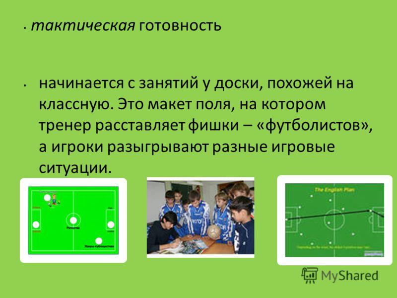 тактическая готовность начинается с занятий у доски, похожей на классную. Это макет поля, на котором тренер расставляет фишки – «футболистов», а игроки разыгрывают разные игровые ситуации.