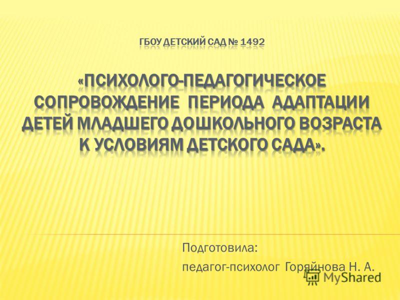 Подготовила: педагог-психолог Горяйнова Н. А.