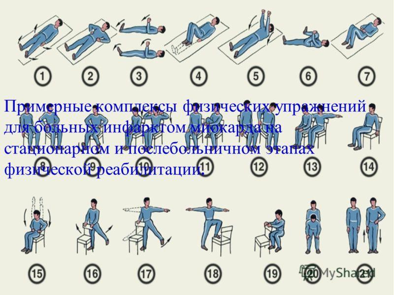 Примерные комплексы физических упражнений для больных инфарктом миокарда на стационарном и послебольничном этапах физической реабилитации.