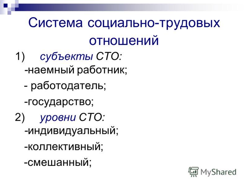 Система социально-трудовых отношений 1)субъекты СТО: -наемный работник; - работодатель; -государство; 2) уровни СТО: -индивидуальный; -коллективный; -смешанный;