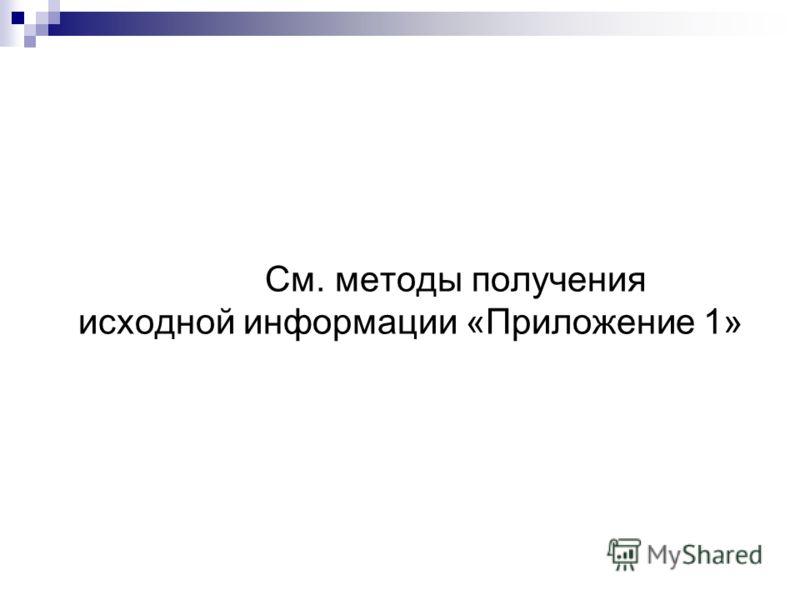 См. методы получения исходной информации «Приложение 1»