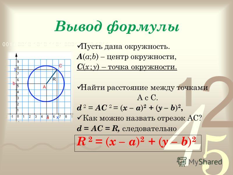 Вывод формулы Пусть дана окружность. А ( а ; b ) – центр окружности, С ( х ; у ) – точка окружности. Найти расстояние между точками А с С. d 2 = АС 2 = ( х – а ) 2 + ( у – b ) 2, Как можно назвать отрезок АС? d = АС = R, следовательно R 2 = ( х – а )