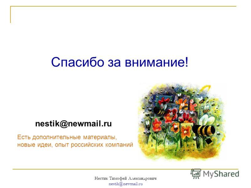 Нестик Тимофей Александрович nestik@newmail.ru Спасибо за внимание! nestik@newmail.ru Есть дополнительные материалы, новые идеи, опыт российских компаний