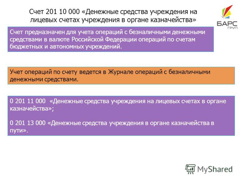 Счет 201 10 000 «Денежные средства учреждения на лицевых счетах учреждения в органе казначейства» Счет предназначен для учета операций с безналичными денежными средствами в валюте Российской Федерации операций по счетам бюджетных и автономных учрежде
