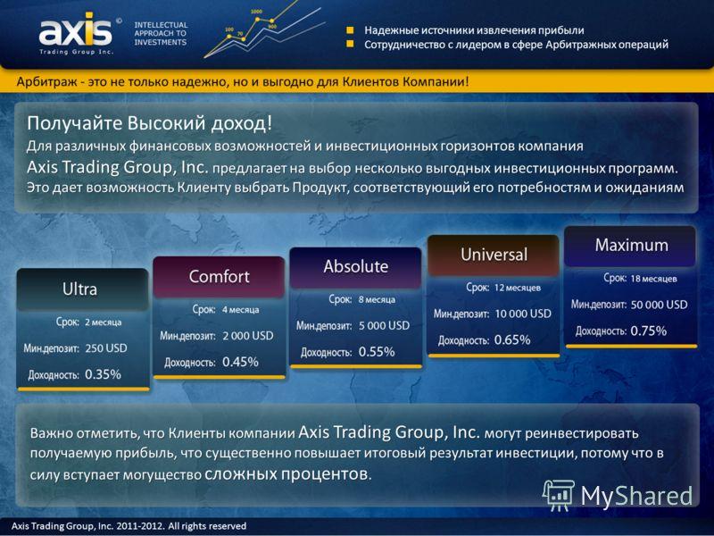 Арбитраж - это не только надежно, но и выгодно для Клиентов Компании! Axis Trading Group, Inc. 2011-2012. All rights reserved Получайте Высокий доход! Важно отметить, что Клиенты компании Axis Trading Group, Inc. могут реинвестировать получаемую приб