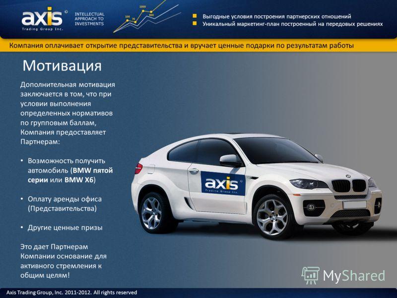 Мотивация Дополнительная мотивация заключается в том, что при условии выполнения определенных нормативов по групповым баллам, Компания предоставляет Партнерам: Возможность получить автомобиль (BMW пятой серии или BMW X6) Оплату аренды офиса (Представ