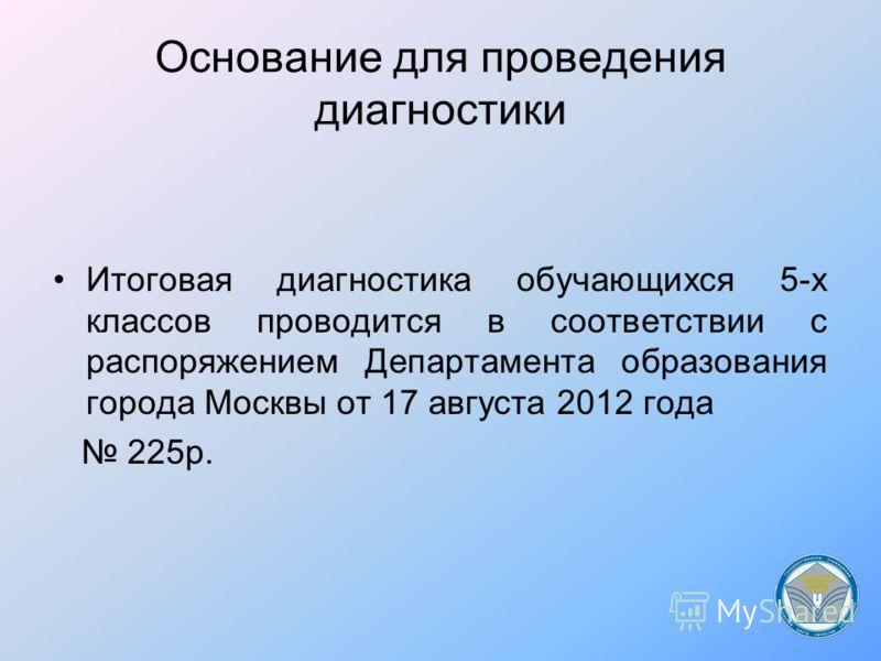 Основание для проведения диагностики Итоговая диагностика обучающихся 5-х классов проводится в соответствии с распоряжением Департамента образования города Москвы от 17 августа 2012 года 225р.