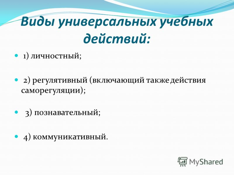 Виды универсальных учебных действий: 1) личностный; 2) регулятивный (включающий также действия саморегуляции); 3) познавательный; 4) коммуникативный.