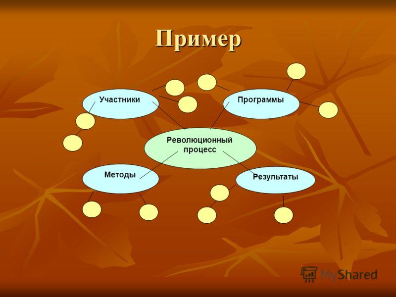 Пример Революционный процесс Участники Методы Результаты Программы
