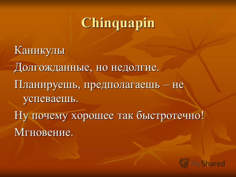 Chinquapin Каникулы Долгожданные, но недолгие. Планируешь, предполагаешь – не успеваешь. Ну почему хорошее так быстротечно! Мгновение.