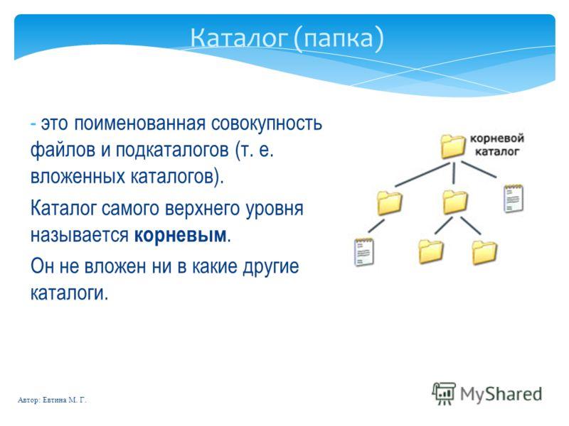 Автор: Евтина М. Г. Каталог (папка) - это поименованная совокупность файлов и подкаталогов (т. е. вложенных каталогов). Каталог самого верхнего уровня называется корневым. Он не вложен ни в какие другие каталоги.