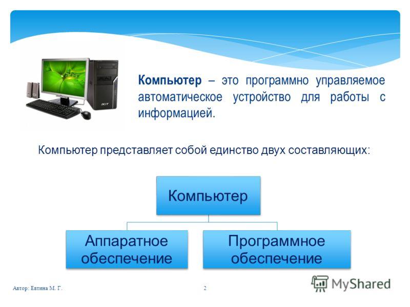 2 Компьютер – это программно управляемое автоматическое устройство для работы с информацией. Компьютер представляет собой единство двух составляющих: Компьютер Аппаратное обеспечение Программное обеспечение