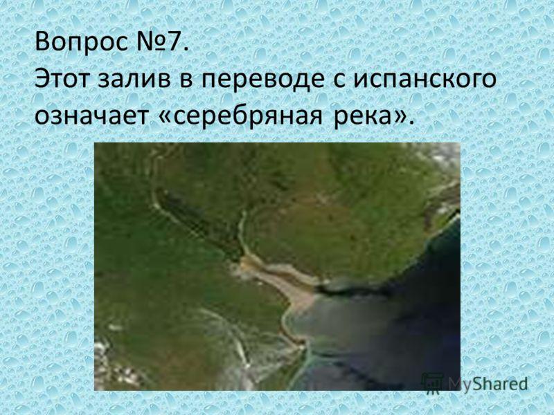 Вопрос 7. Этот залив в переводе с испанского означает «серебряная река».