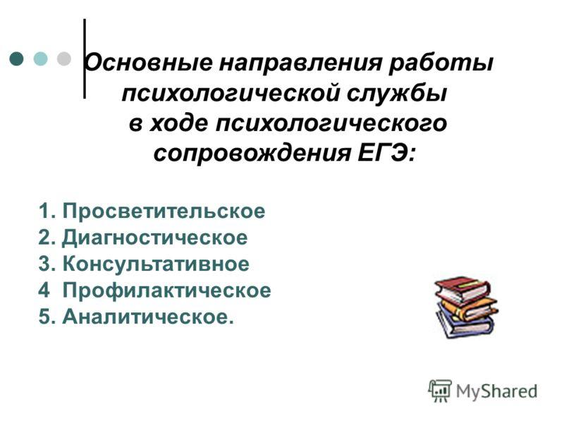 Основные направления работы психологической службы в ходе психологического сопровождения ЕГЭ: 1. Просветительское 2. Диагностическое 3. Консультативное 4 Профилактическое 5. Аналитическое.