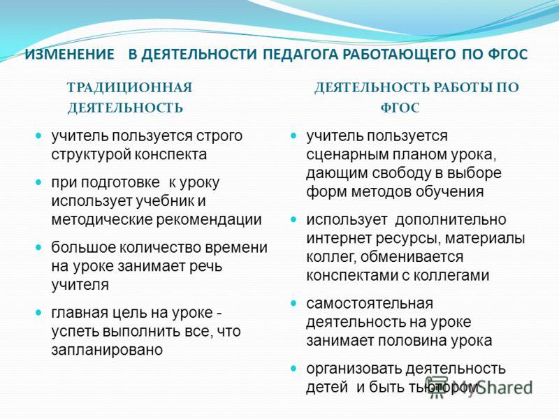 ИЗМЕНЕНИЕ В ДЕЯТЕЛЬНОСТИ ПЕДАГОГА РАБОТАЮЩЕГО ПО ФГОС ТРАДИЦИОННАЯ ДЕЯТЕЛЬНОСТЬ ДЕЯТЕЛЬНОСТЬ РАБОТЫ ПО ФГОС учитель пользуется строго структурой конспекта при подготовке к уроку использует учебник и методические рекомендации большое количество времен