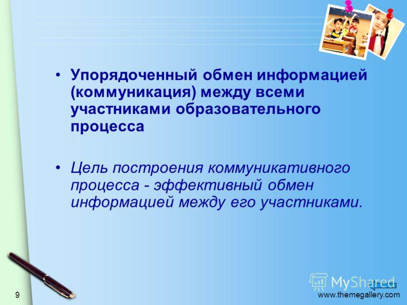 www.themegallery.com 9 Упорядоченный обмен информацией (коммуникация) между всеми участниками образовательного процесса Цель построения коммуникативного процесса - эффективный обмен информацией между его участниками.