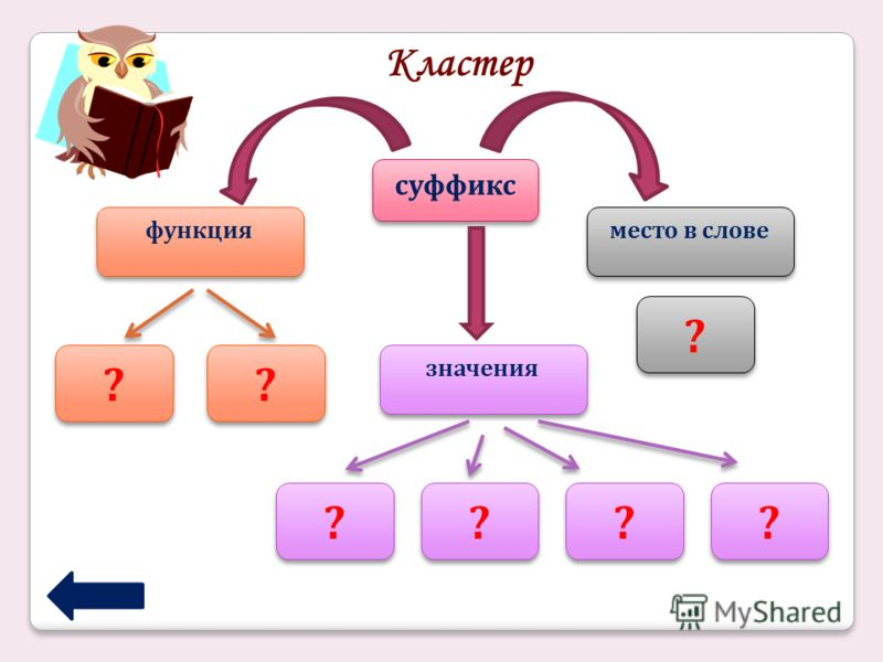 Кластер суффикс функция место в слове значения ? ? ? ? ? ? ? ? ? ? ? ? ? ?