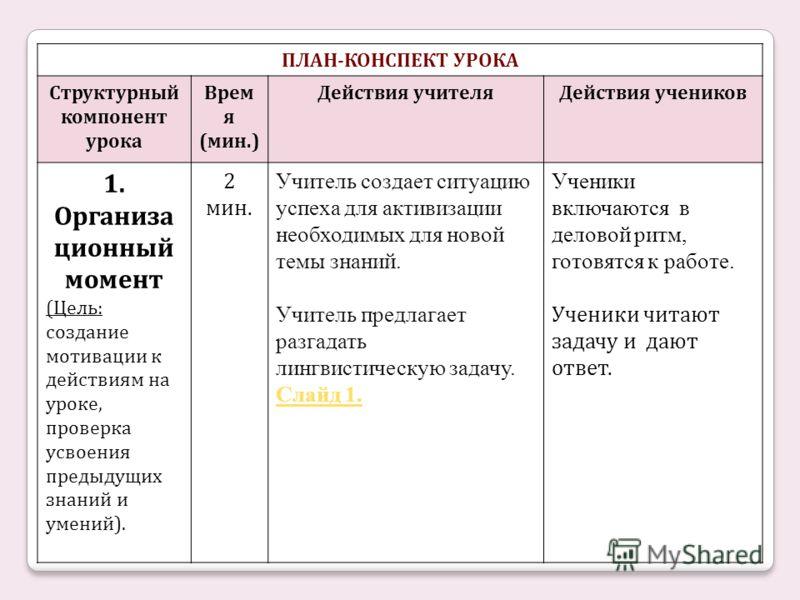 ПЛАН-КОНСПЕКТ УРОКА