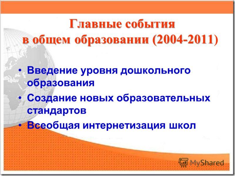 Главные события в общем образовании (2004-2011 Главные события в общем образовании (2004-2011) Введение уровня дошкольного образования Создание новых образовательных стандартов Всеобщая интернетизация школ